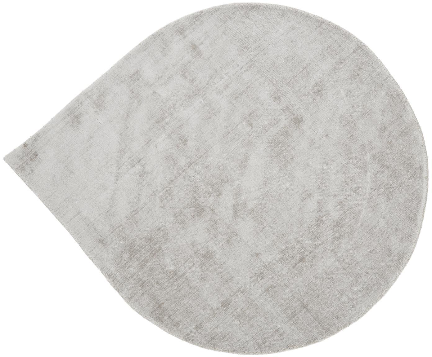 Alfombra artesanal de viscosa Jane Drop, Parte superior: 100%viscosa, Reverso: 100%algodón, Gris claro, beige, Ø 150 cm (Tamaño M)