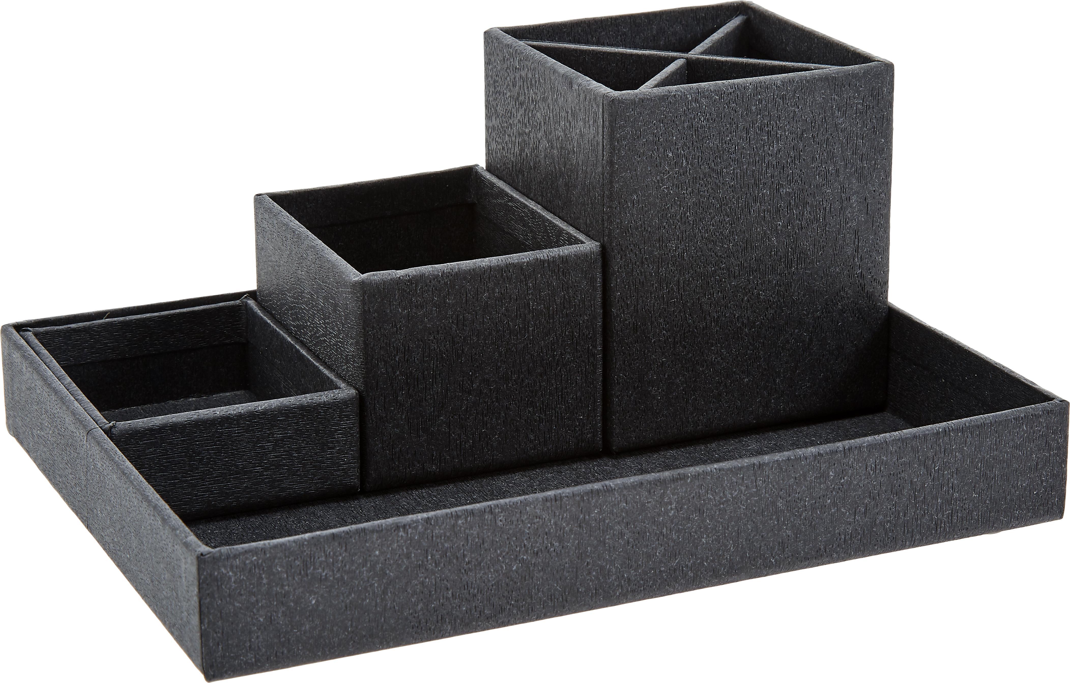 Büro-Organizer-Set Lena, 4-tlg., Fester Karton, mit Holzdekor bedruckt, Schwarz, Set mit verschiedenen Grössen