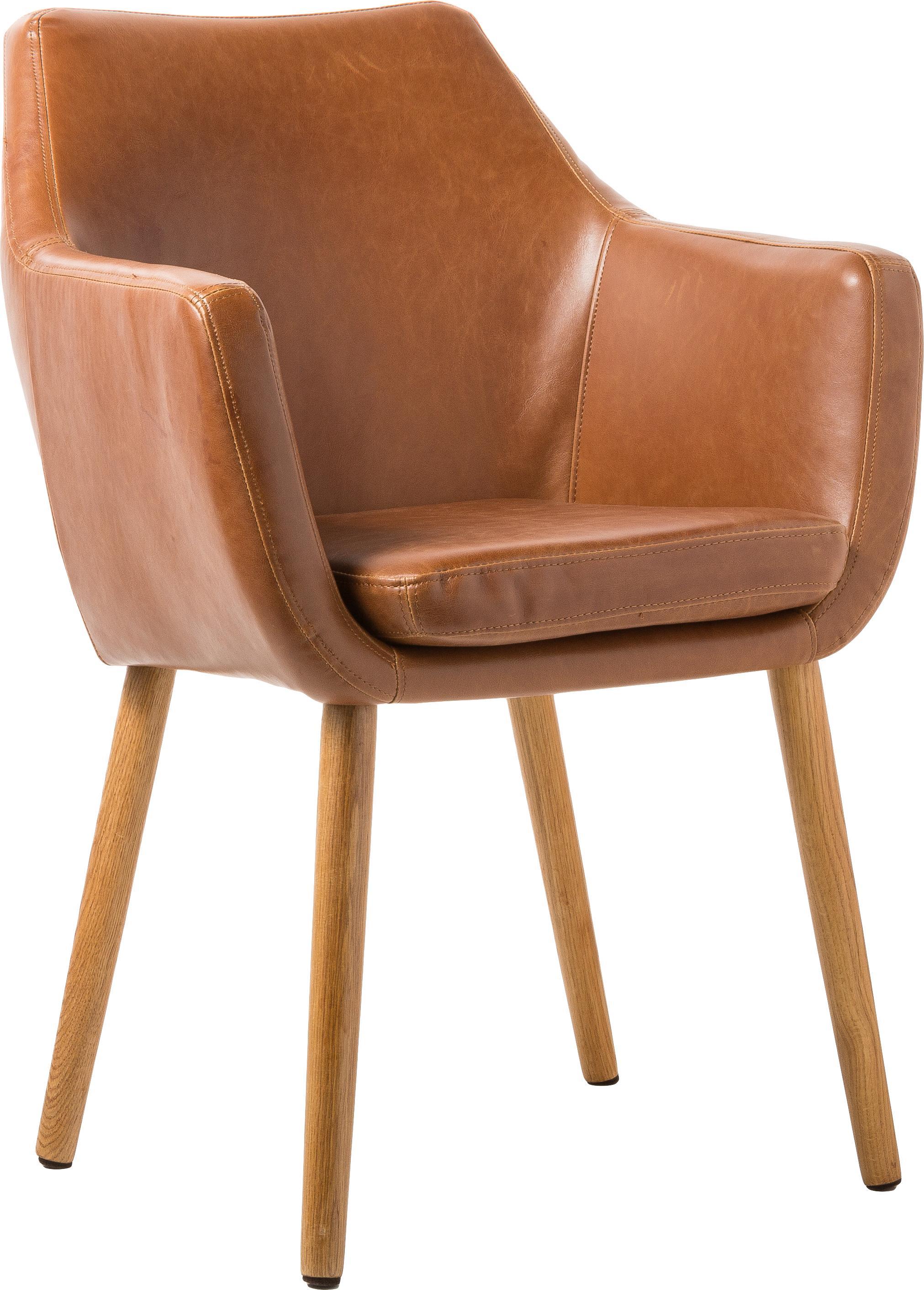 Kunstleren stoel Nora met armleuning, Bekleding: imitatieleer (polyurethaa, Poten: eikenhout, Cognackleurig, B 56 x D 55 cm