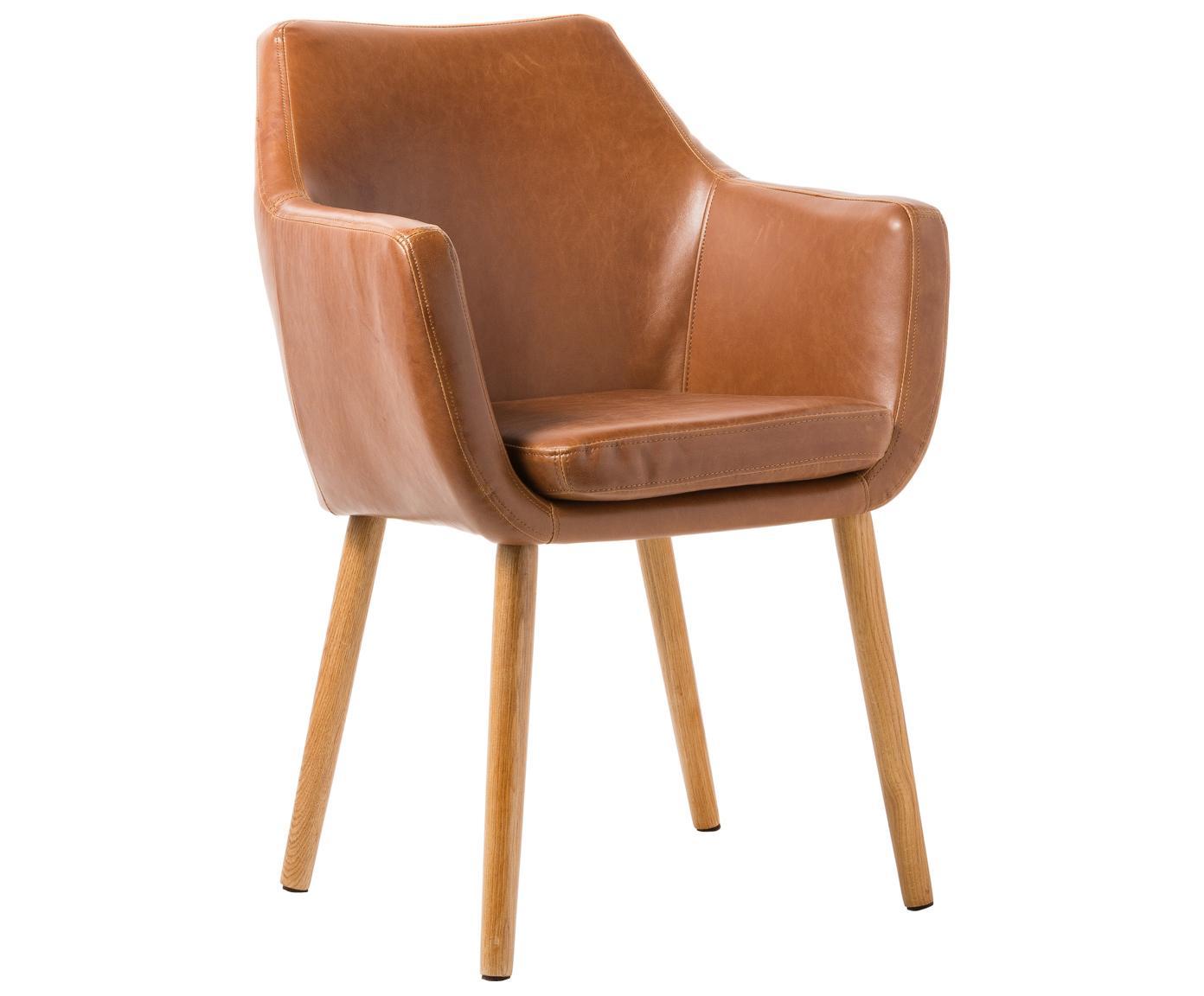 Sedia con braccioli  Nora, Rivestimento: pelle ecologica (poliuret, Gambe: legno di quercia, Pelle sintetica colore cognac, gambe in rovere, Larg. 56 x Alt. 55 cm