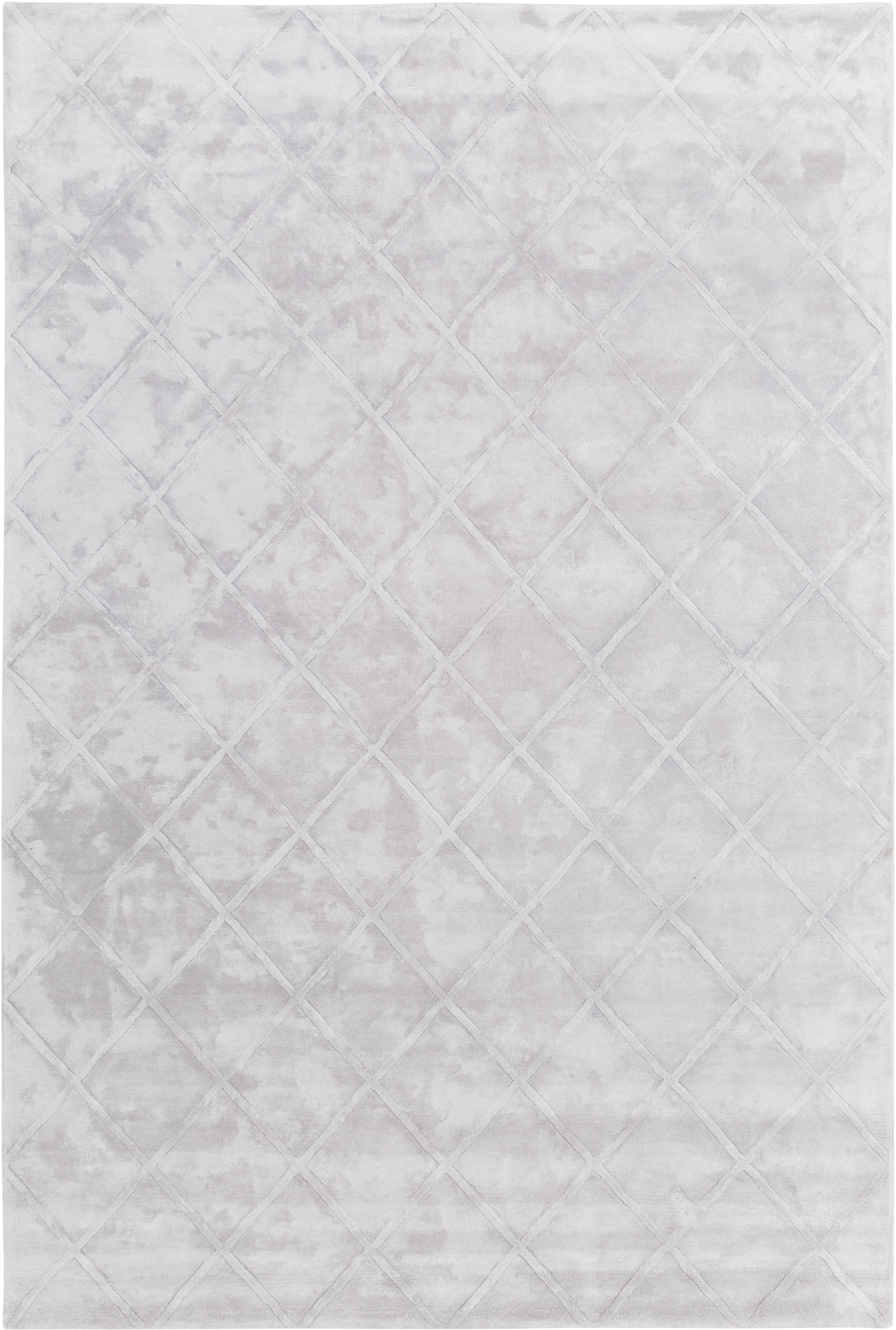 Handgetufteter Viskoseteppich Shiny in Silbergrau mit Rautenmuster, Flor: 100% Viskose, Helles Silbergrau, B 200 x L 300 cm (Größe L)