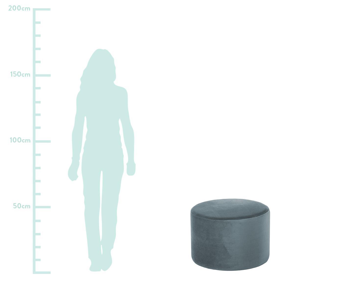 Samt-Hocker Daisy, Bezug: Samt (Polyester) 15.000 S, Rahmen: Mitteldichte Holzfaserpla, Samt Graublau, Ø 54 x H 40 cm