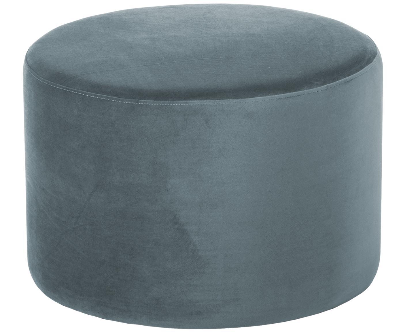 Samt-Hocker Daisy, Bezug: Samt (Polyester) 15.000 S, Rahmen: Mitteldichte Holzfaserpla, Graublau, Ø 60 x H 41 cm