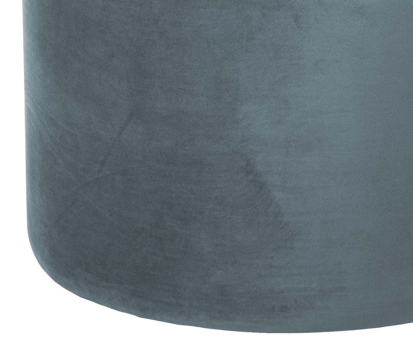 Puf z aksamitu Daisy, Tapicerka: aksamit (poliester) Tkani, Szaroniebieski, Ø 62 x W 41 cm