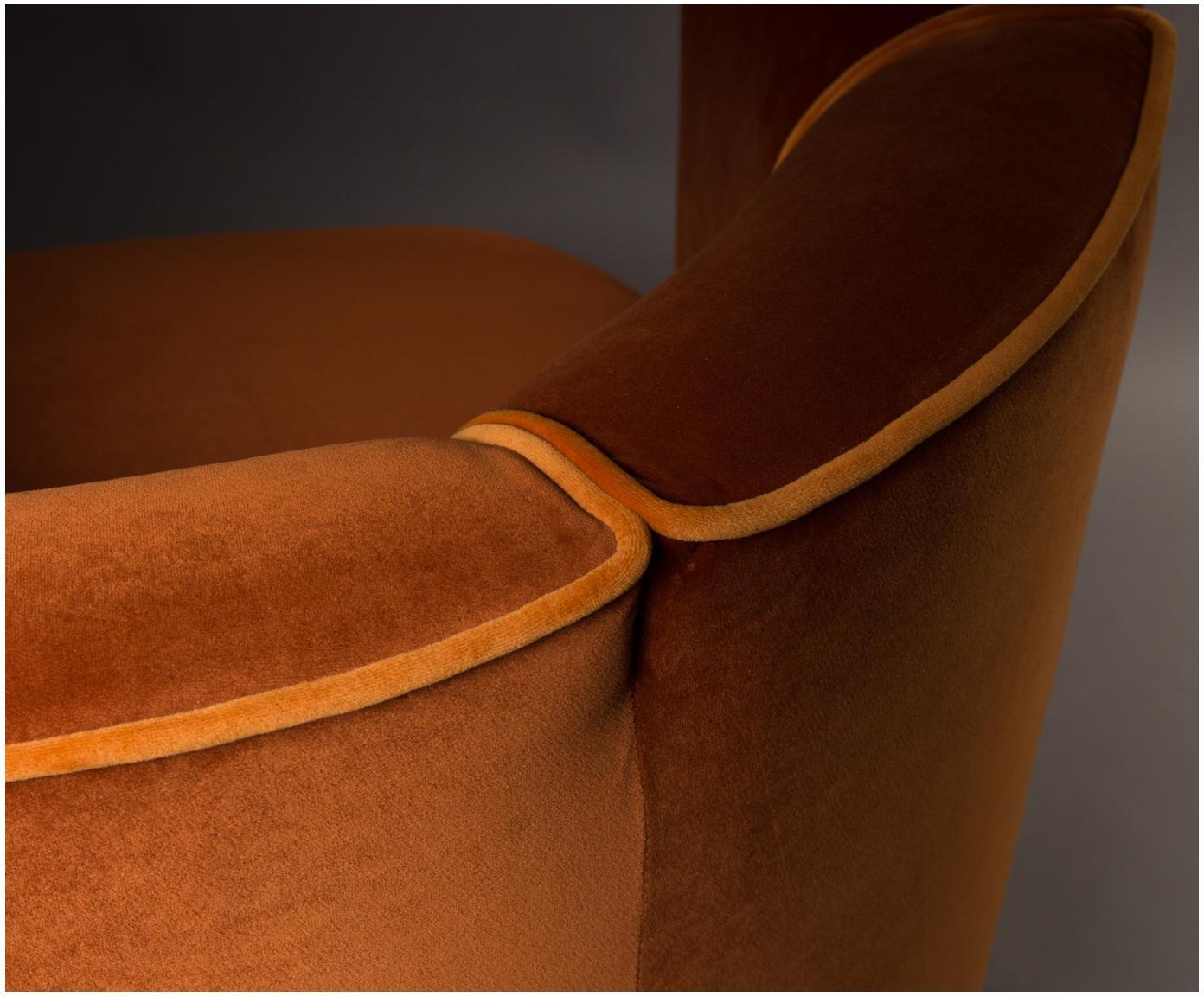 Draaibare fluwelen fauteuil Flower in oranje, Bekleding: polyester (fluweel), Oranje, 86 x 74 cm