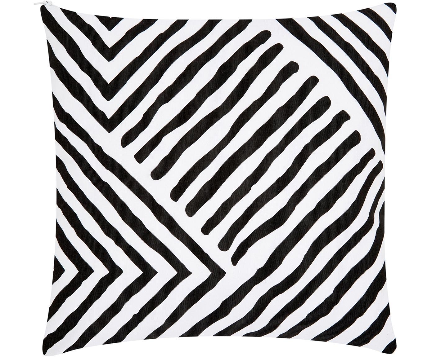 Gemusterte Kissenhülle Mia, 100% Baumwolle, Schwarz, Weiß, 40 x 40 cm