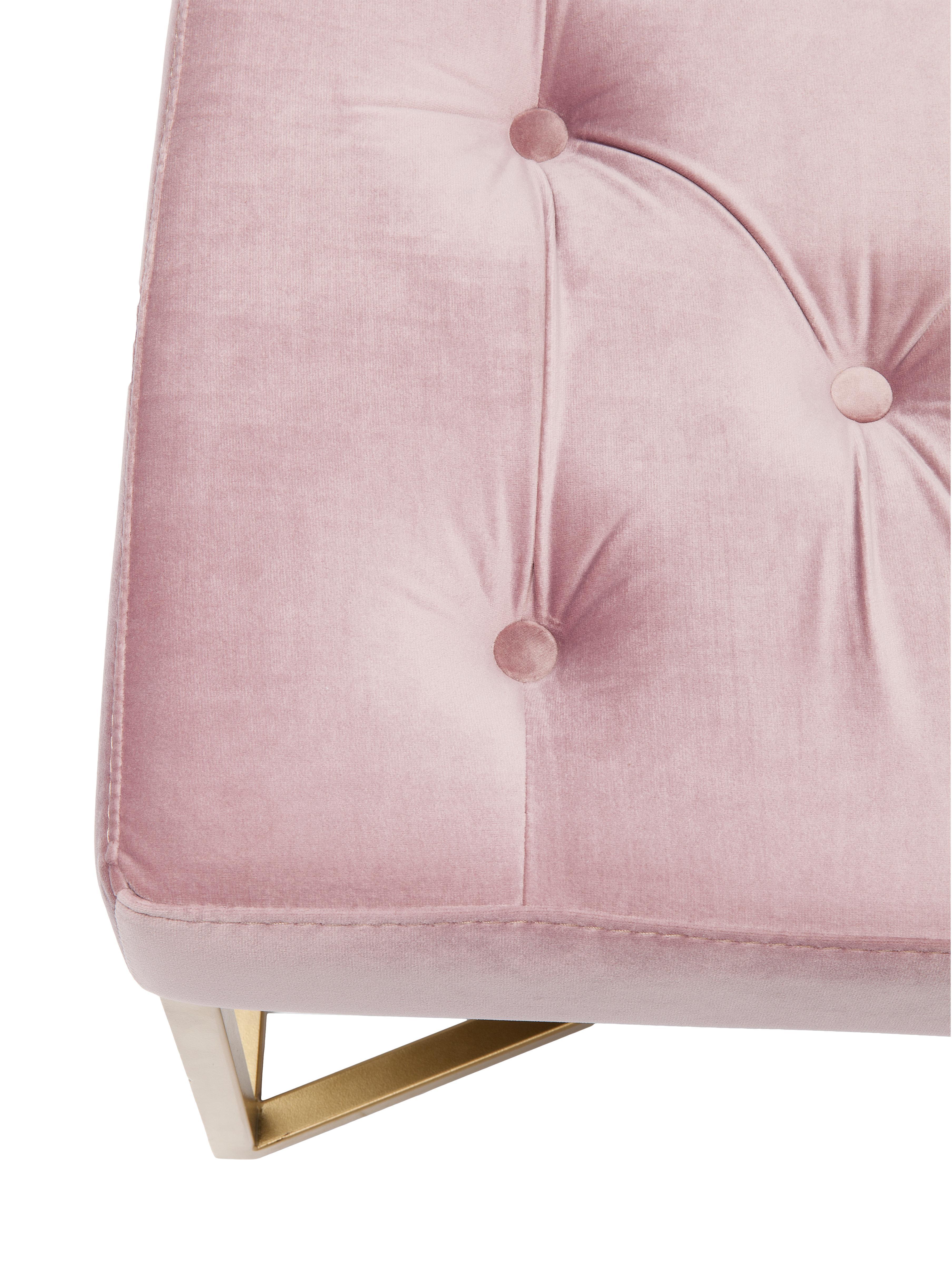 Fluwelen bank Crossover in roze, Frame: gelakt metaal, Bekleding: polyester fluweel, Roze, messingkleurig, B 90 cm