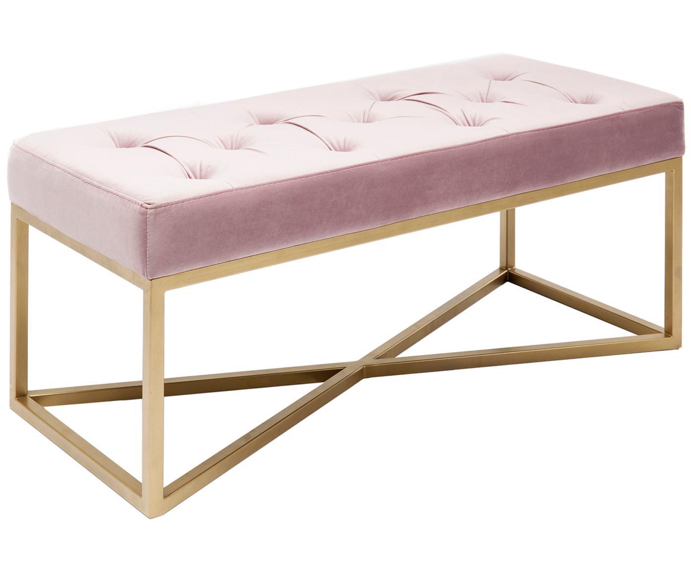 Ławka tapicerowana z aksamitu Crossover, Stelaż: metal lakierowany, Tapicerka: aksamit poliestrowy 4500, Różowy, odcienie mosiądzu, S 90 x H 40 cm