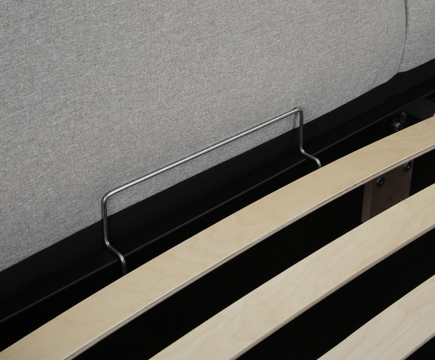 Letto imbottito con contenitore Dream, Rivestimento: Poliestere (tessuto strut, Grigio scuro, 180 x 200 cm