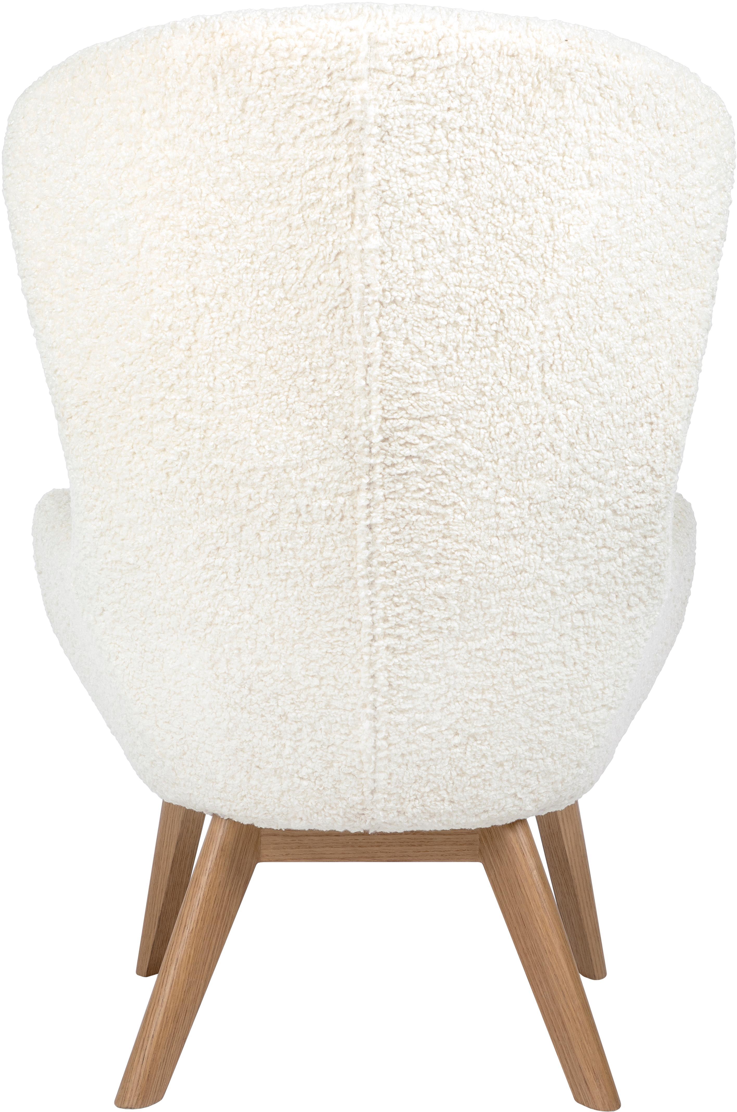 Teddy-Ohrensessel Wing, Bezug: Polyester (Teddyfell), Füße: Massivholz mit Eschenfurn, Cremeweiß, 77 x 106 cm
