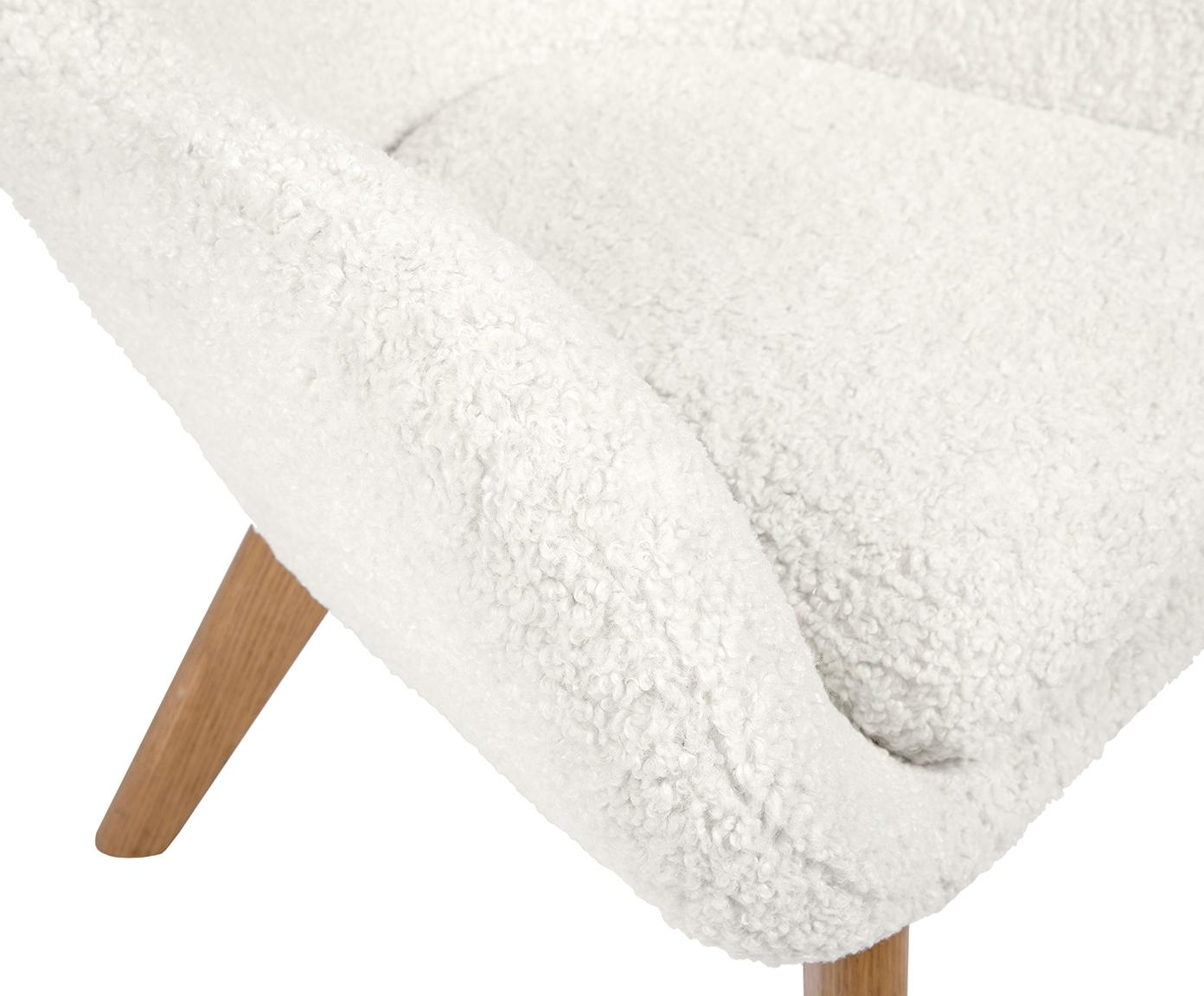 Teddy fauteuil Wing, Bekleding: polyester (teddy), Poten: gelakt massief hout met e, Crème wit, B 77 x D 89 cm
