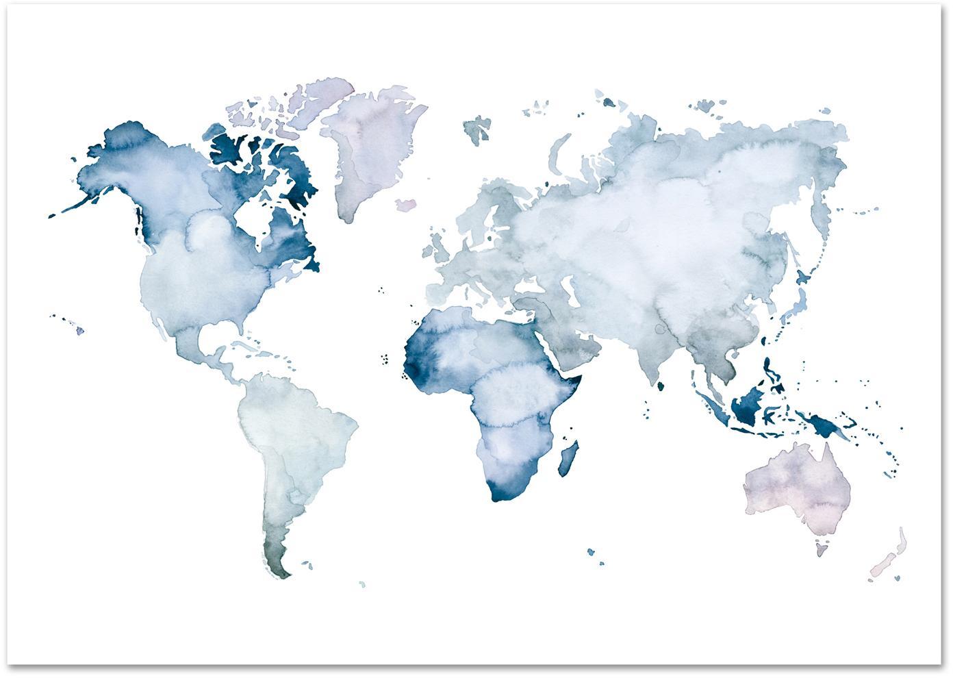 Poster World Map, Digitaldruck auf Papier, 200 g/m², Blau, Weiß, 42 x 30 cm