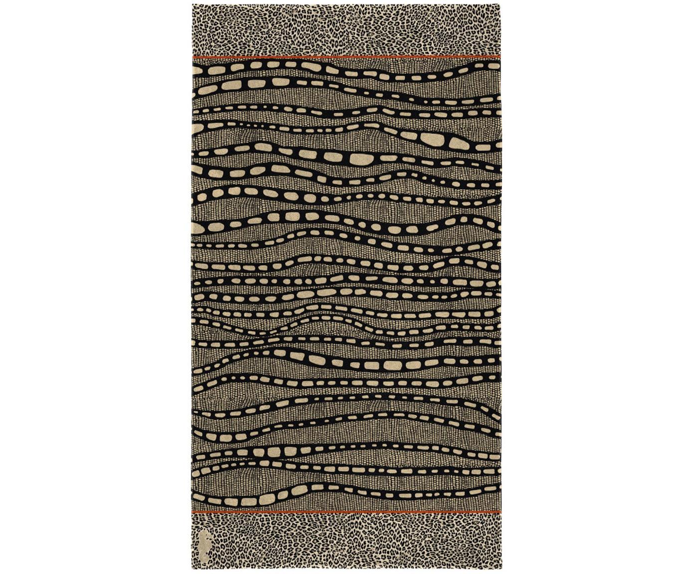 Strandtuch Idris, 100% Velours (Baumwolle) mittelschwere Stoffqualität, 420g/m², Brauntöne, Beigetöne, Schwarz, Orange, 100 x 180 cm