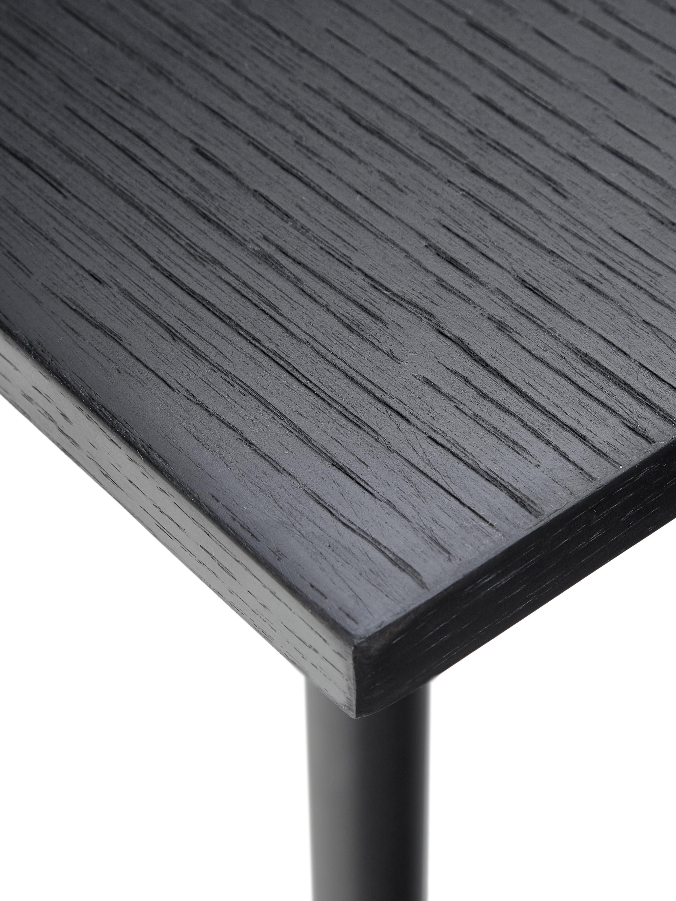 Tavolo in legno con struttura in metallo Jette, Piano d'appoggio: impiallacciato rovere ver, Gambe: metallo verniciato a polv, Nero, Larg. 160 x Prof. 80 cm