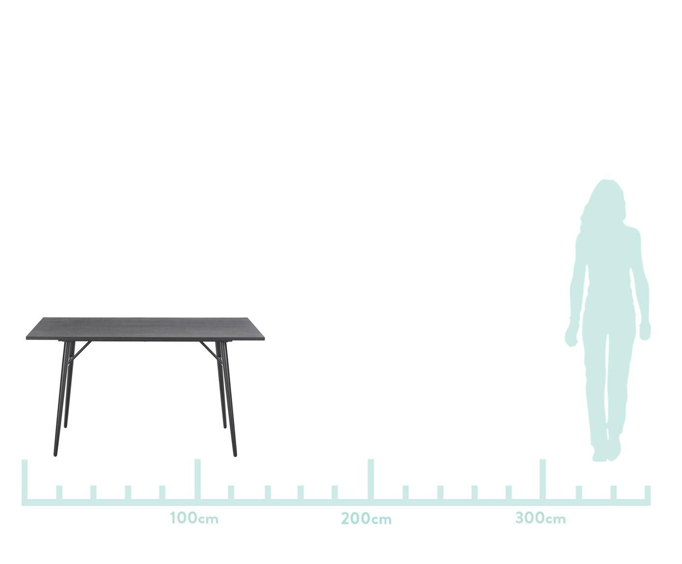 Holztisch Jette mit Metallgestell, Tischplatte: Eichenholzfurnier, lackie, Beine: Metall, pulverbeschichtet, Schwarz, B 160 x T 80 cm