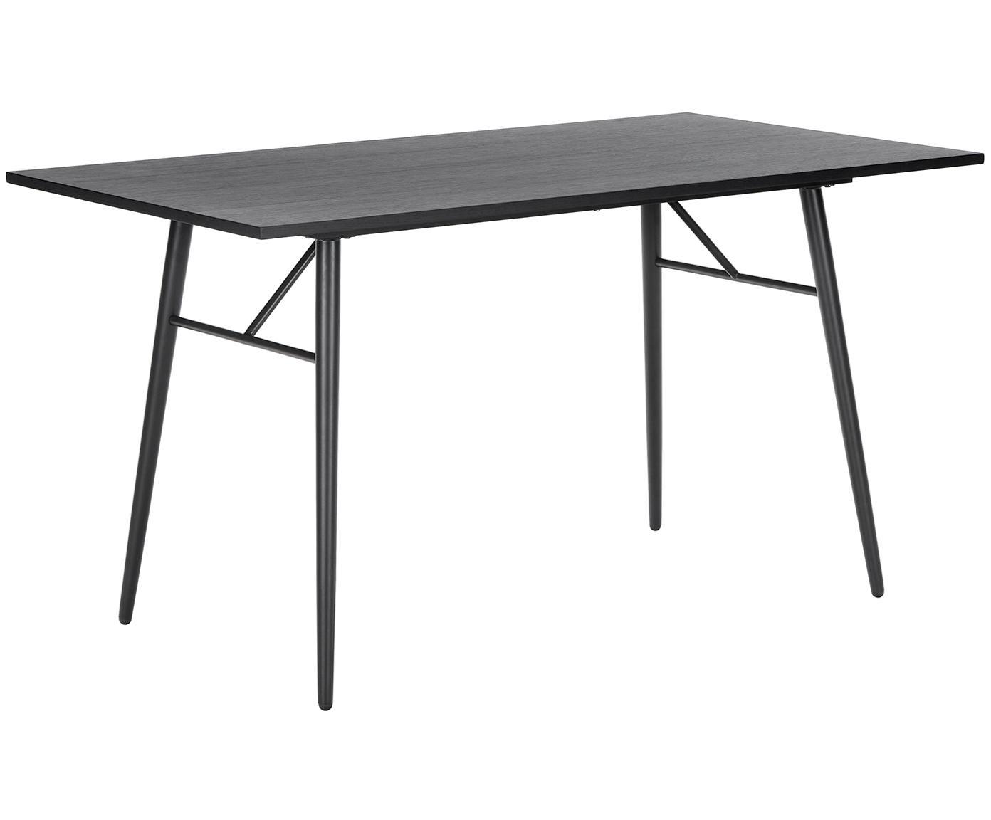 Tavolo in legno con struttura in metallo Jette, Piano d'appoggio: finitura in quercia, vern, Gambe: metallo verniciato a polv, Nero, Larg. 140 x Prof. 80 cm