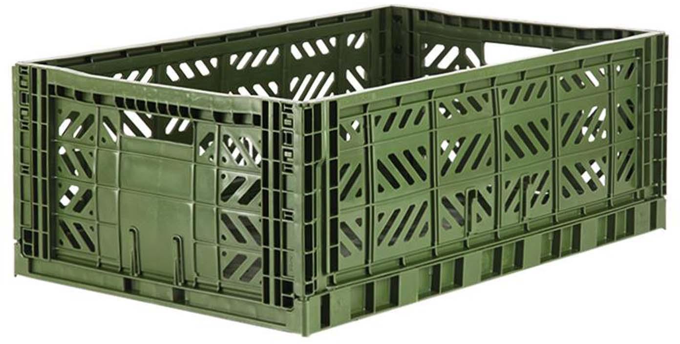 Cesto grande pieghevole e impilabile Khaki, Materiale sintetico riciclato, Kaki, Larg. 60 x Alt. 22 cm
