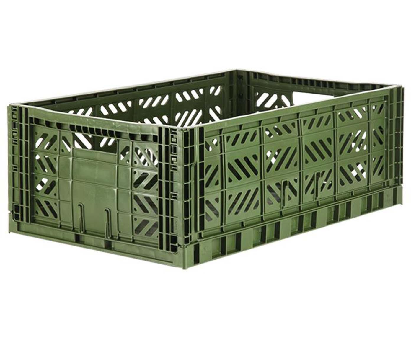 Caja pegable apilable Khaki, grande, Plástico reciclado, Caqui, An 60 x Al 22 cm