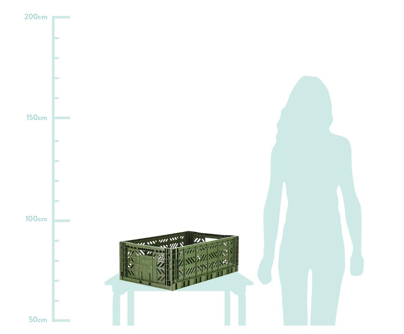 Krat Khaki, stapelbaar, groot, Gerecycled kunststof, Kaki, 60 x 22 cm
