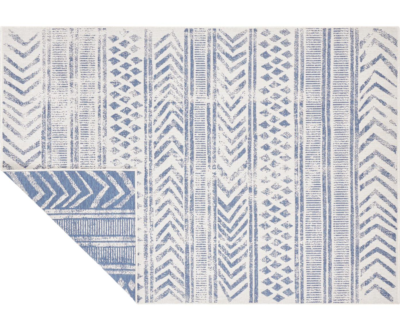 Dubbelzijdig in- en outdoor vloerkleed Biri met grafisch patroon, Polypropyleen, Blauw, crèmekleurig, B 80 x L 150 cm (maat XS)