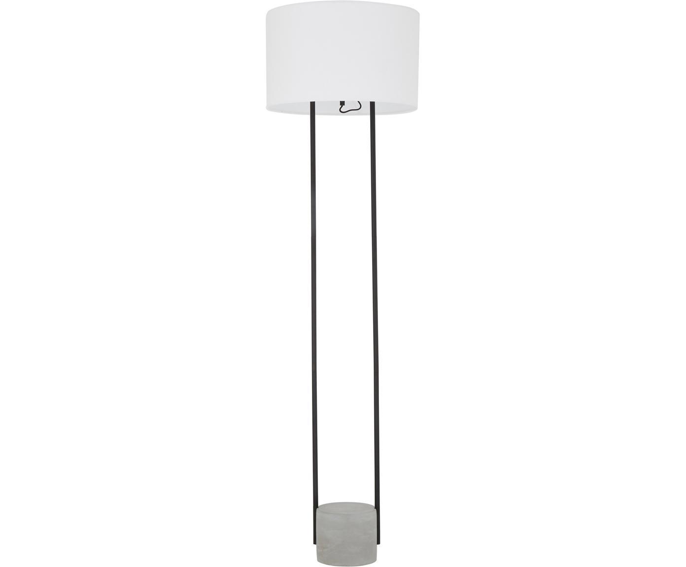 Vloerlamp Pipero met betonnen voet, Lampenkap: textiel, Lampvoet: gepoedercoat metaal, beto, Lampenkap: wit. Lampvoet: mat zwart, grijs. Snoer: zwart, Ø 45 x H 161 cm