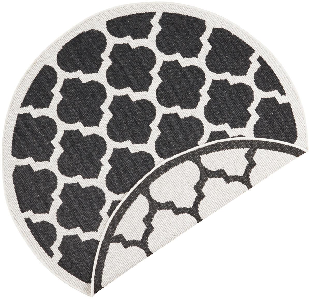Okrągły dwustronny dywan wewnętrzny/zewnętrzny Palermo, Czarny, kremowy, Ø 200 cm (Rozmiar L)
