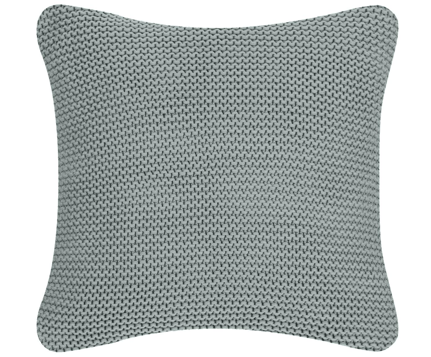 Federa arredo fatta a maglia Adalyn, 100% cotone, Verde salvia, Larg. 50 x Lung. 50 cm