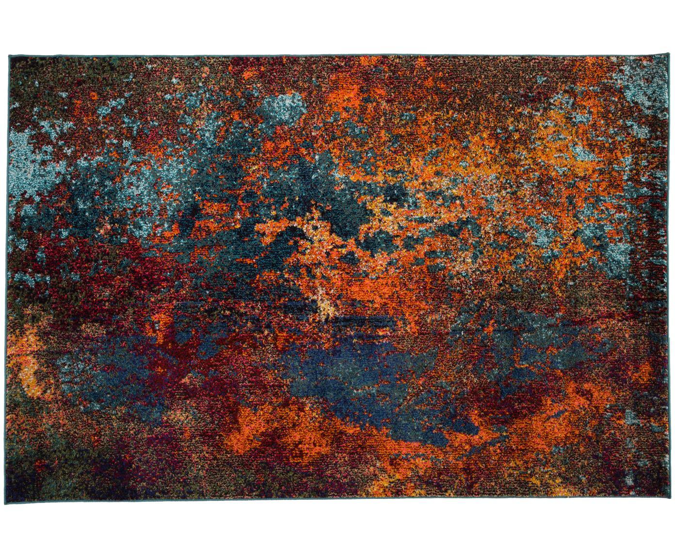 Tappeto di design colorato Celestial, Retro: juta, Tonalità rosse, tonalità blu, verde, Larg. 120 x Lung. 180 cm (taglia S)