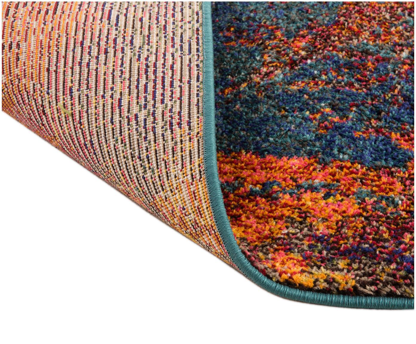 Vloerkleed Celestial, Bovenzijde: polypropyleen, Onderzijde: jute, Roodtinten, blauwtinten, groen, 160 x 220 cm
