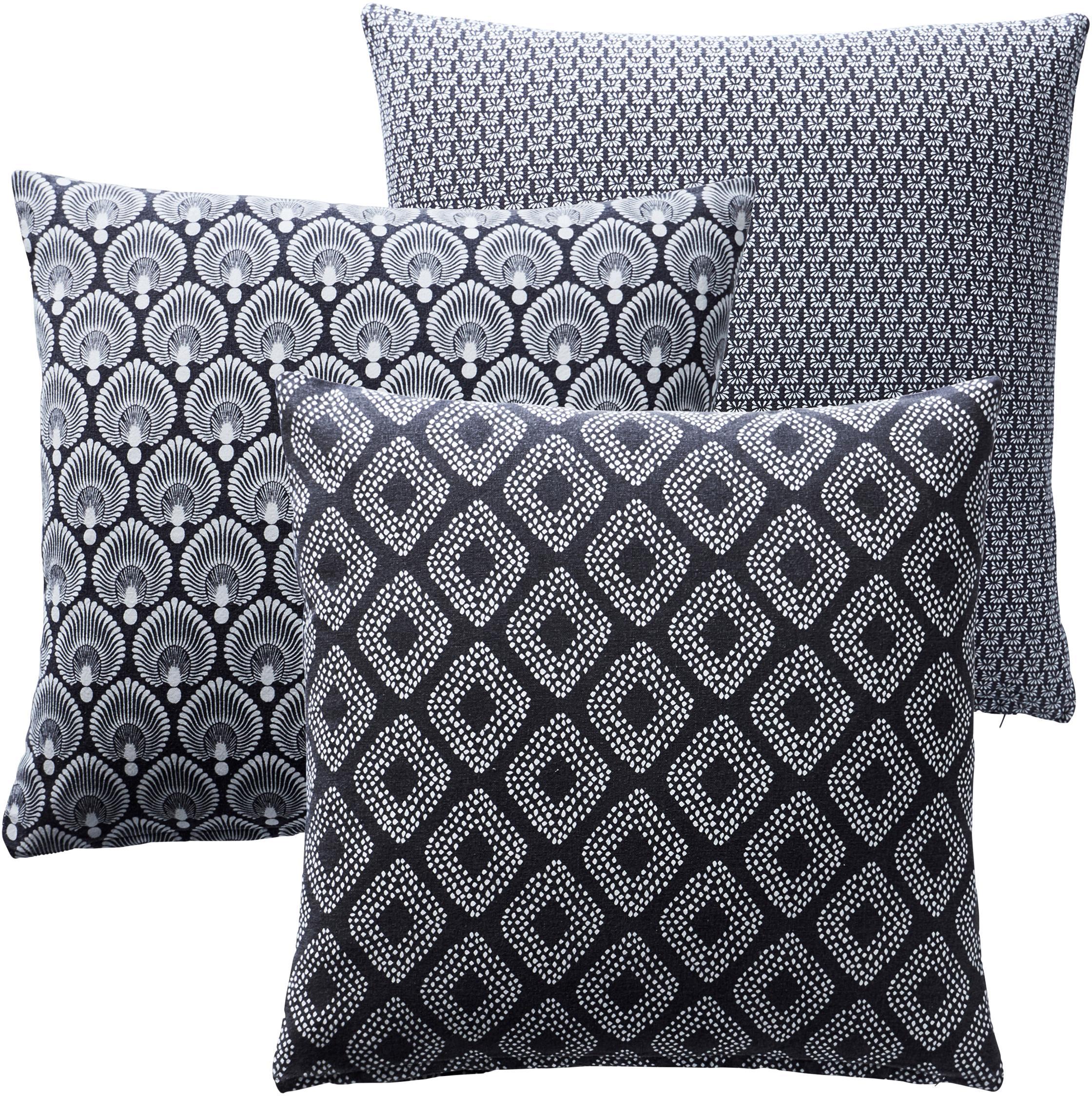 Set 3 federe arrede con motivi geometrici grigio Cousin, 100% cotone, Grigio, bianco, Larg. 45 x Lung. 45 cm