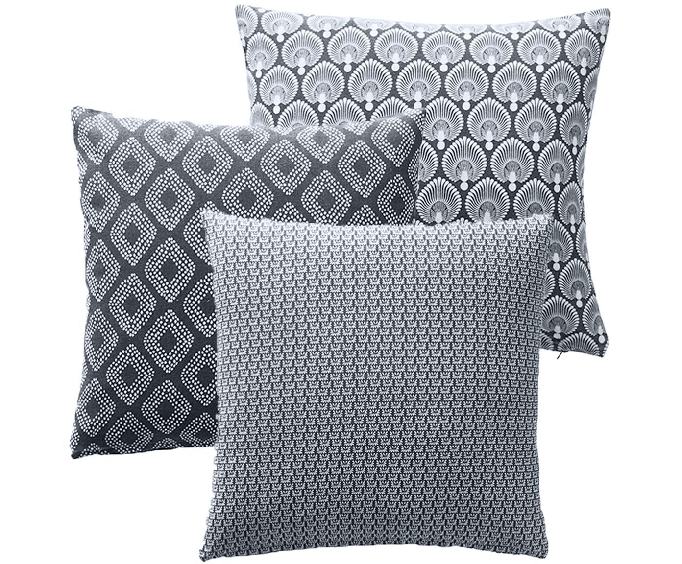 Gemustertes Kissenhüllen 3er Set Cousin in Grau, 100% Baumwolle, Grau, Weiß, 45 x 45 cm