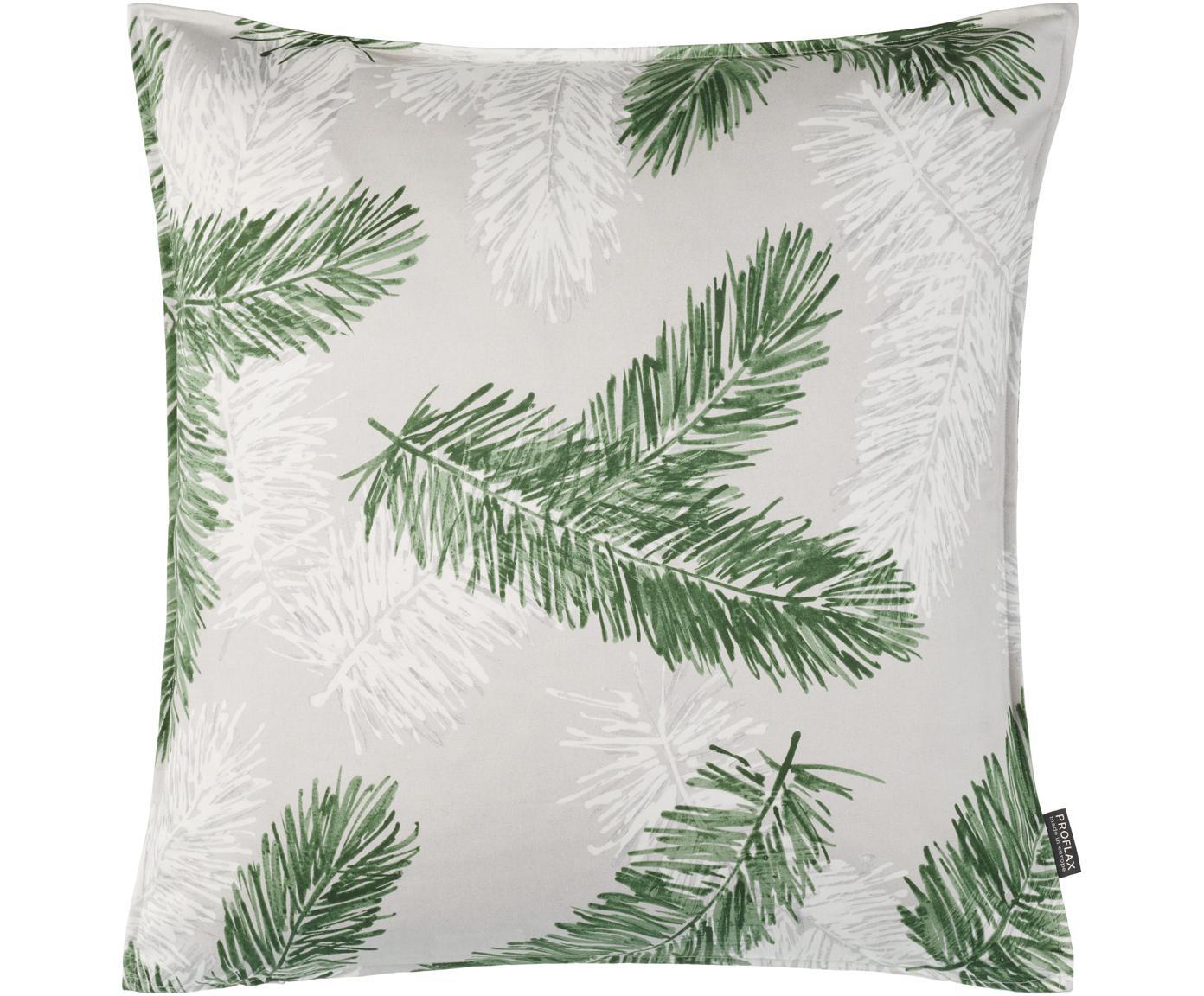 Kissenhülle Pinus, Baumwolle, Grau, Grün, 40 x 40 cm
