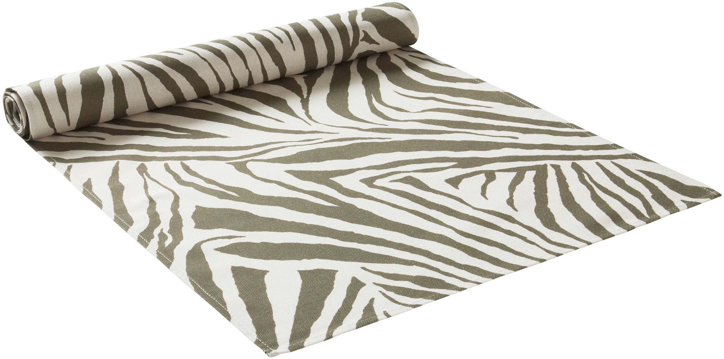 Bieżnik Zadie, 100% bawełna pochodząca ze zrównoważonych upraw, Oliwkowy zielony, kremowobiały, D 40 x S 140 cm