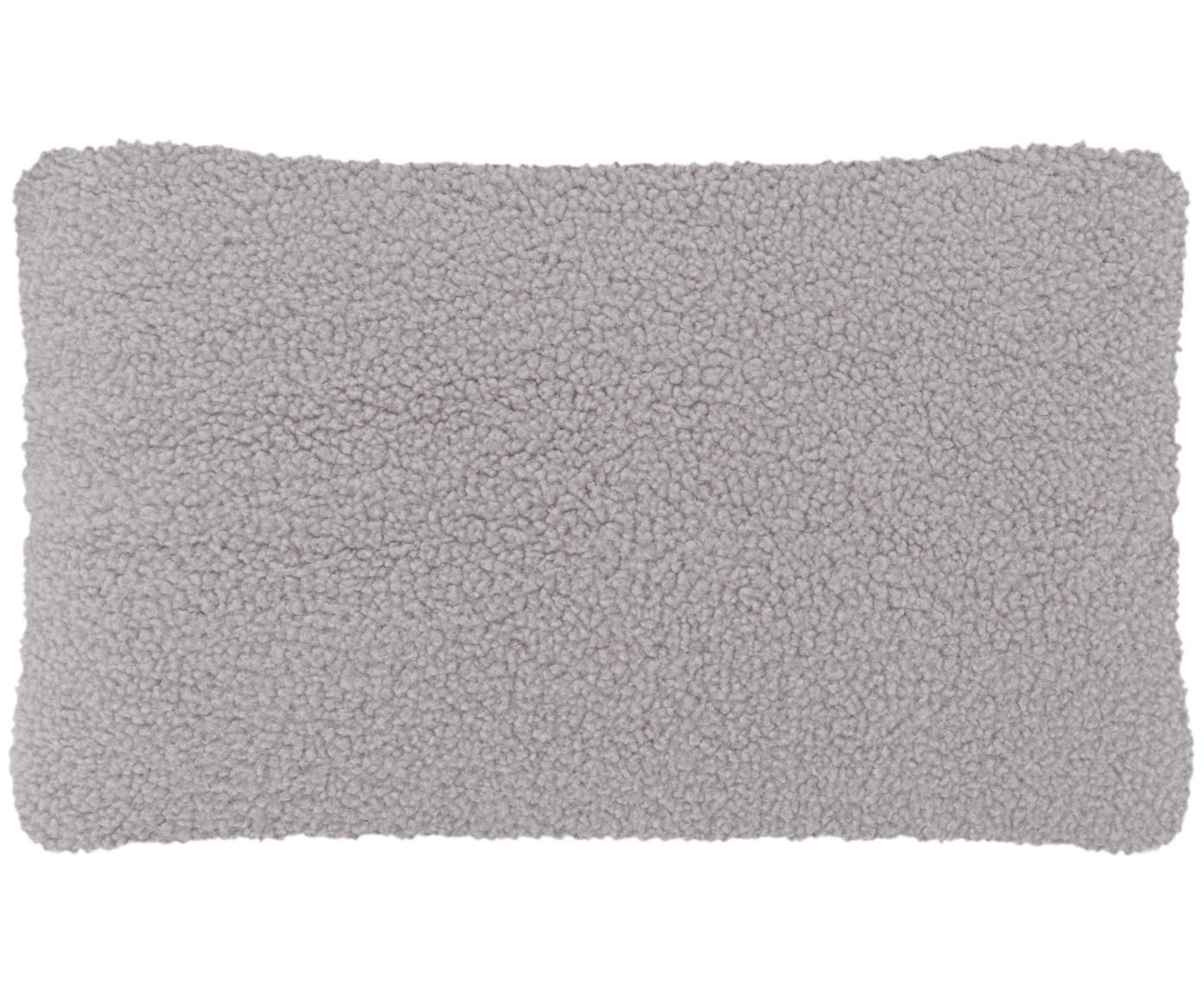 Funda de cojín de borreguillo Mille, Parte delantera: 100%poliéster (borreguil, Parte trasera: 100%poliéster (borreguil, Gris claro, An 30 x L 50 cm