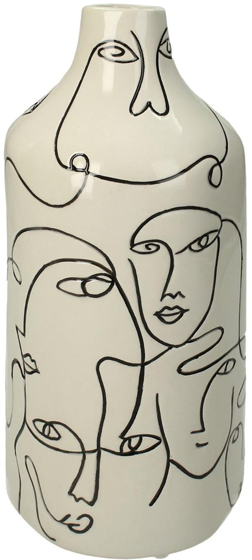 Jarrón de gres Faces, Gres, Blanco crudo, negro, Ø 13 x Al 28 cm
