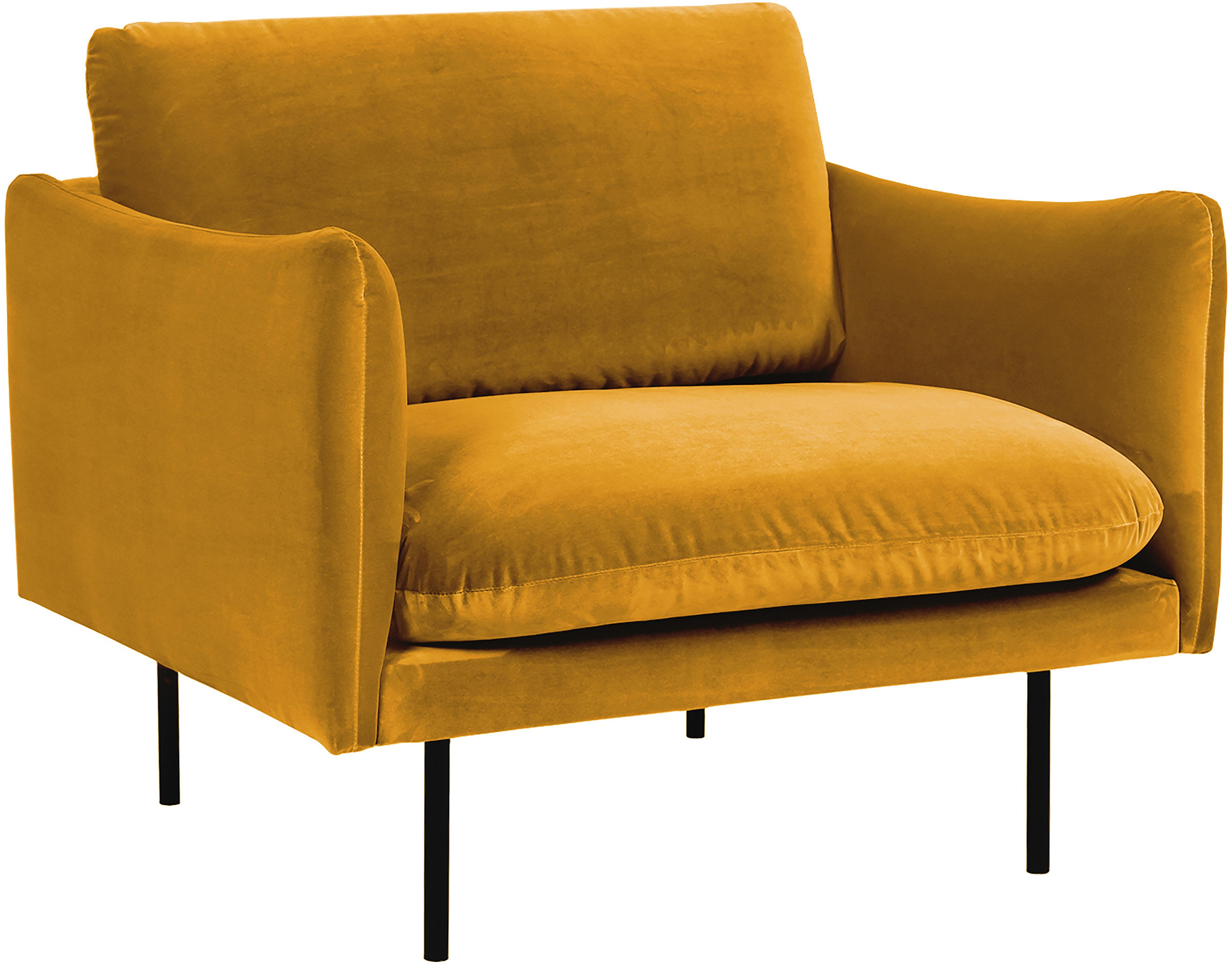 Samt-Sessel Moby, Bezug: Samt (Hochwertiger Polyes, Gestell: Massives Kiefernholz, Füße: Metall, pulverbeschichtet, Samt Senfgelb, B 90 x T 90 cm