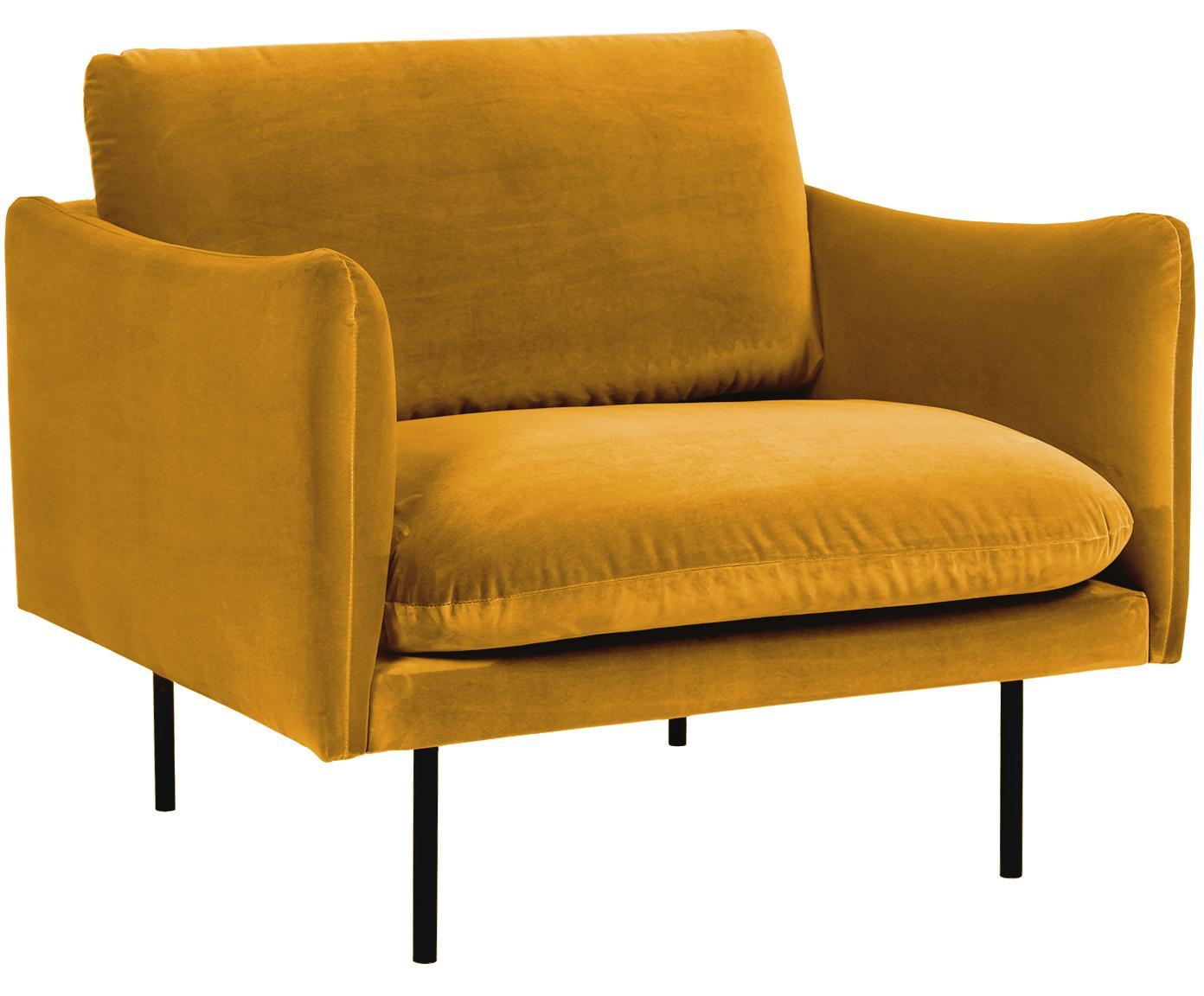 Fotel z aksamitu Moby, Tapicerka: aksamit (wysokiej jakości, Stelaż: lite drewno sosnowe, Nogi: metal malowany proszkowo, Aksamitny musztardowy, S 90 x G 90 cm