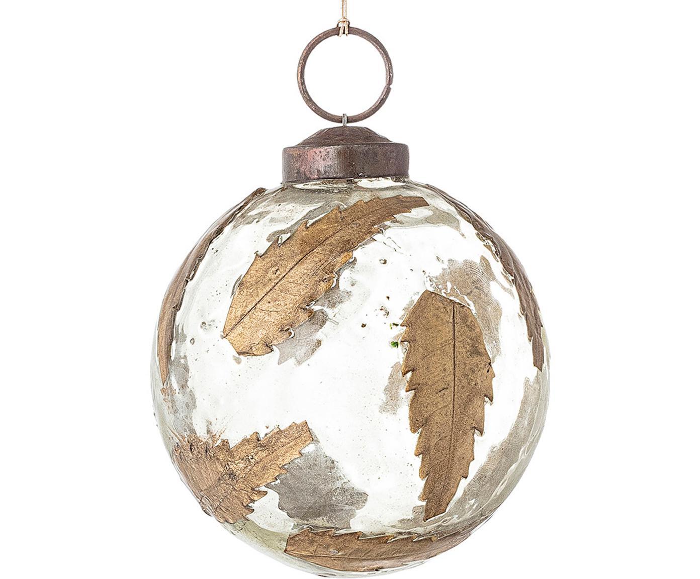 Kerstbal Brask, Glas, metaal, Transparant, messingkleurig, Ø 7 cm