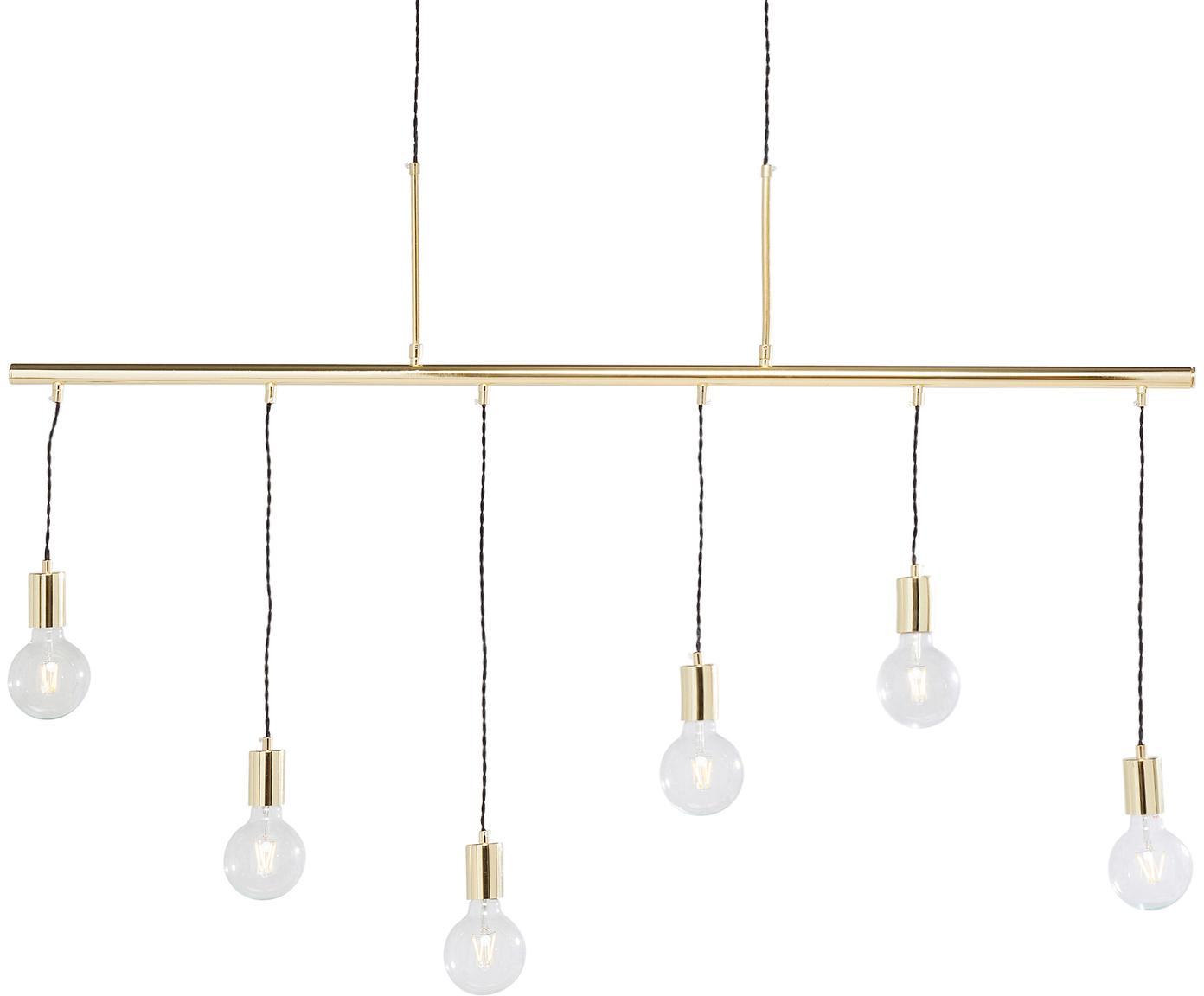 Lámpara de techo grande Pole, Estructura: acero, latón, Anclaje: acero, latón, Cable: cubierto en tela, Latón, An 135 x Al 140 cm