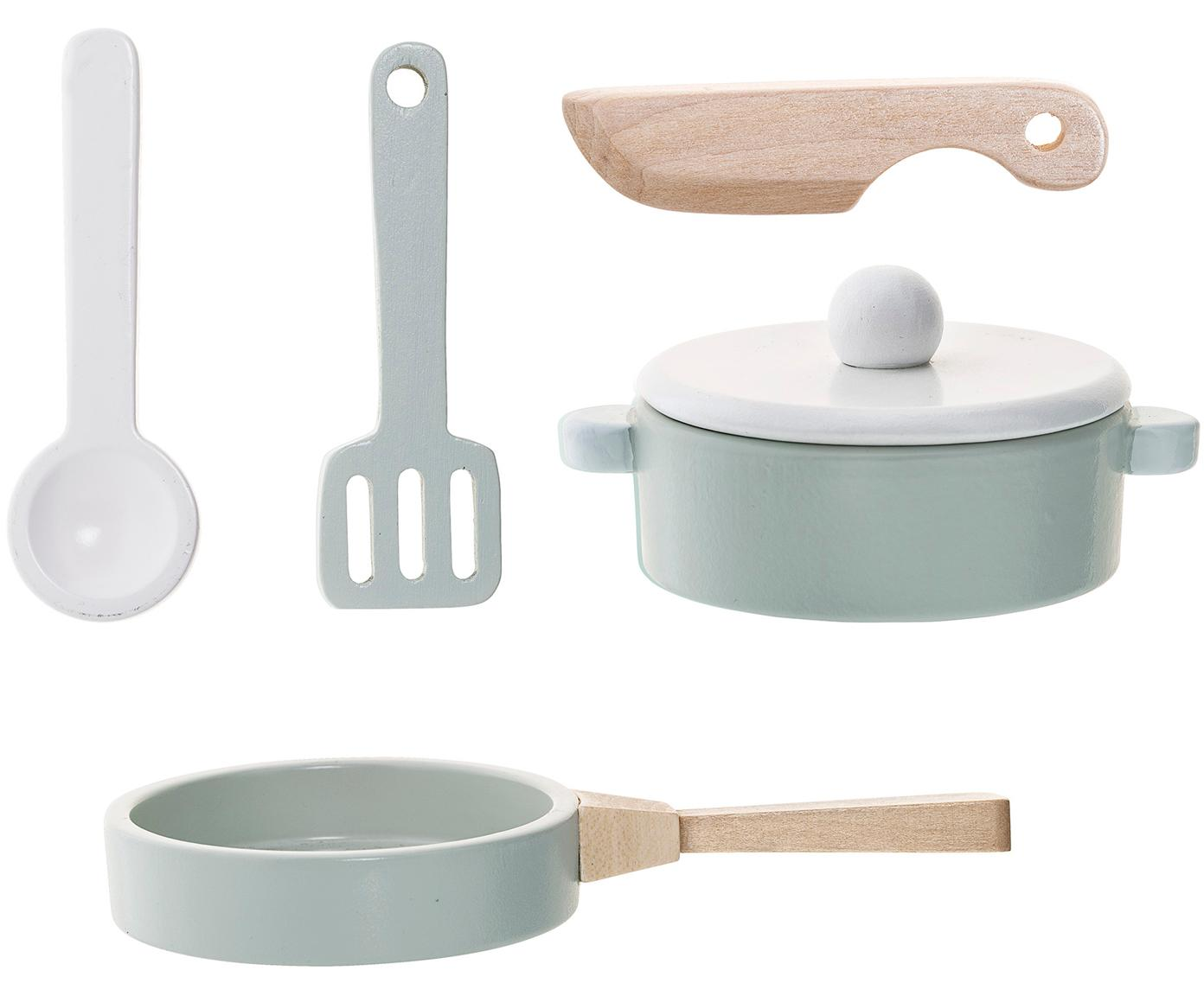 Set de juguetes Cooking, 5pzas., Tablero de fibras de densidad media (MDF), madera de schima, Azul, Tamaños diferentes
