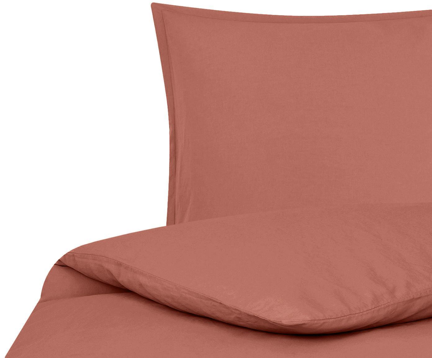 Funda nórdica de lino Breezy, 52%lino, 48%algodón Con efecto Stonewash para una sensación más suave, Terracota, Cama 90 cm (150 x 220 cm)