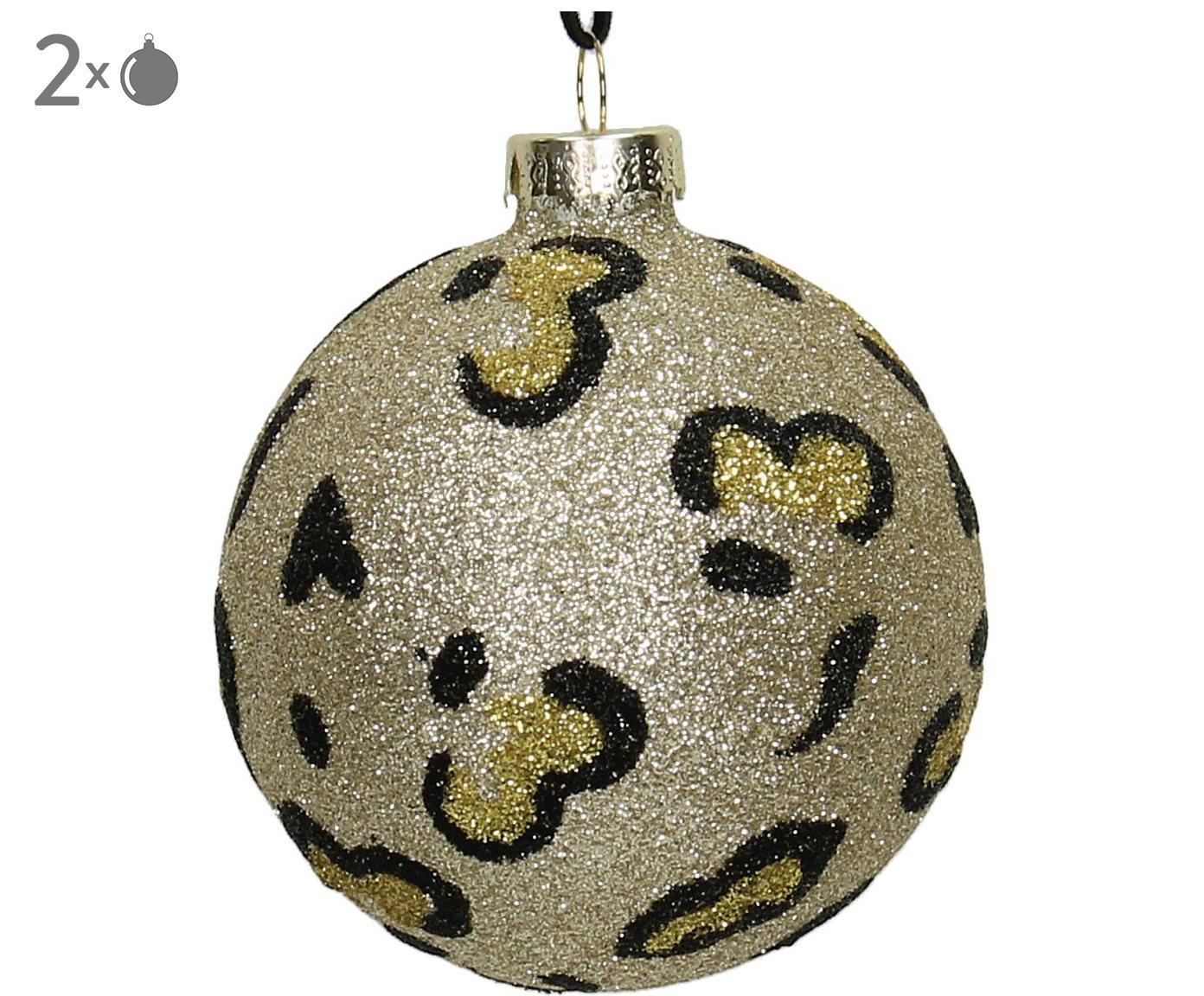 Kerstballen Krave, 2 stuks, Goudkleurig, zwart, Ø 8 cm