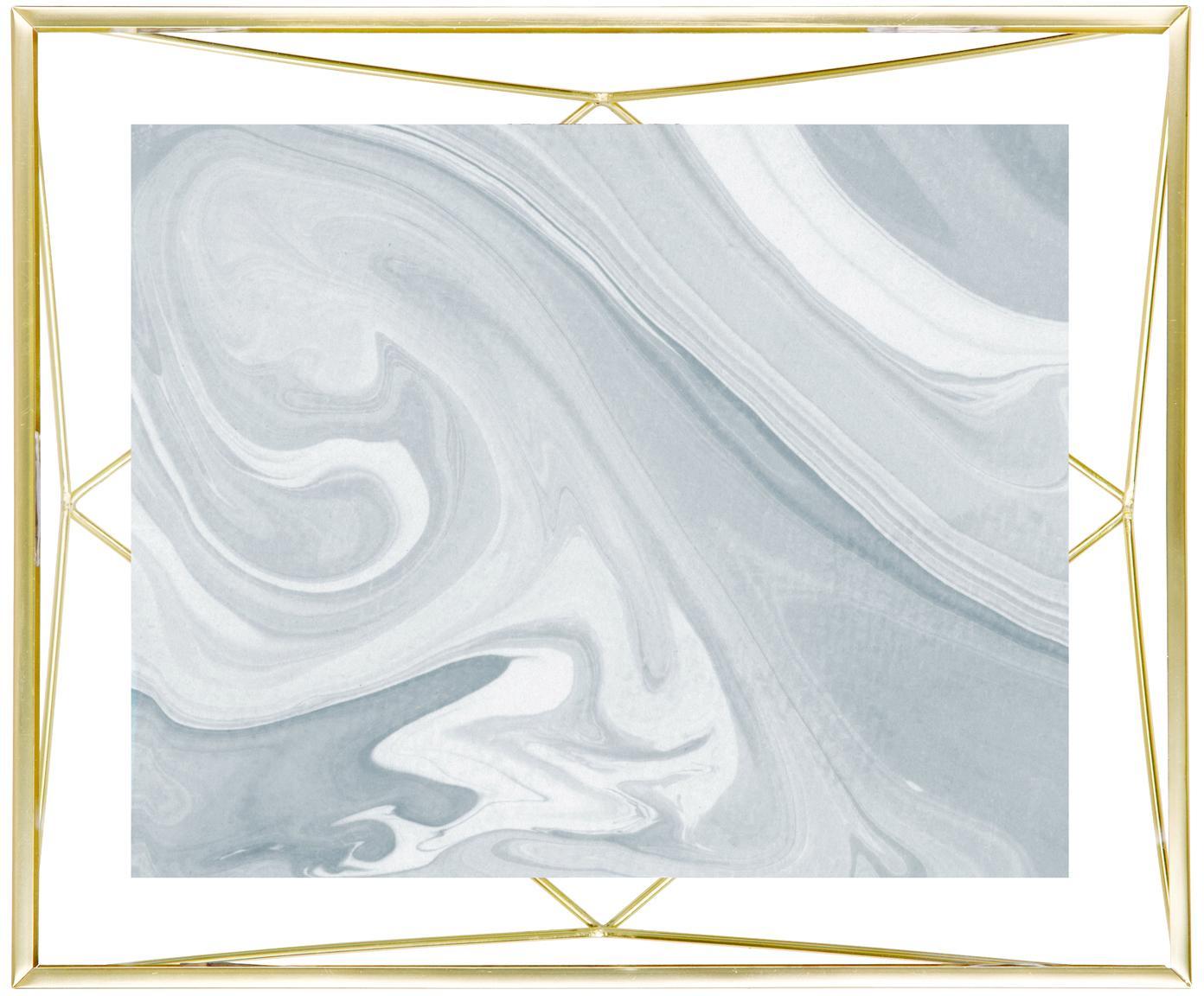 Bilderrahmen Prisma, Rahmen: Stahl, Front: Glas, Messingfarben, 20 x 25 cm