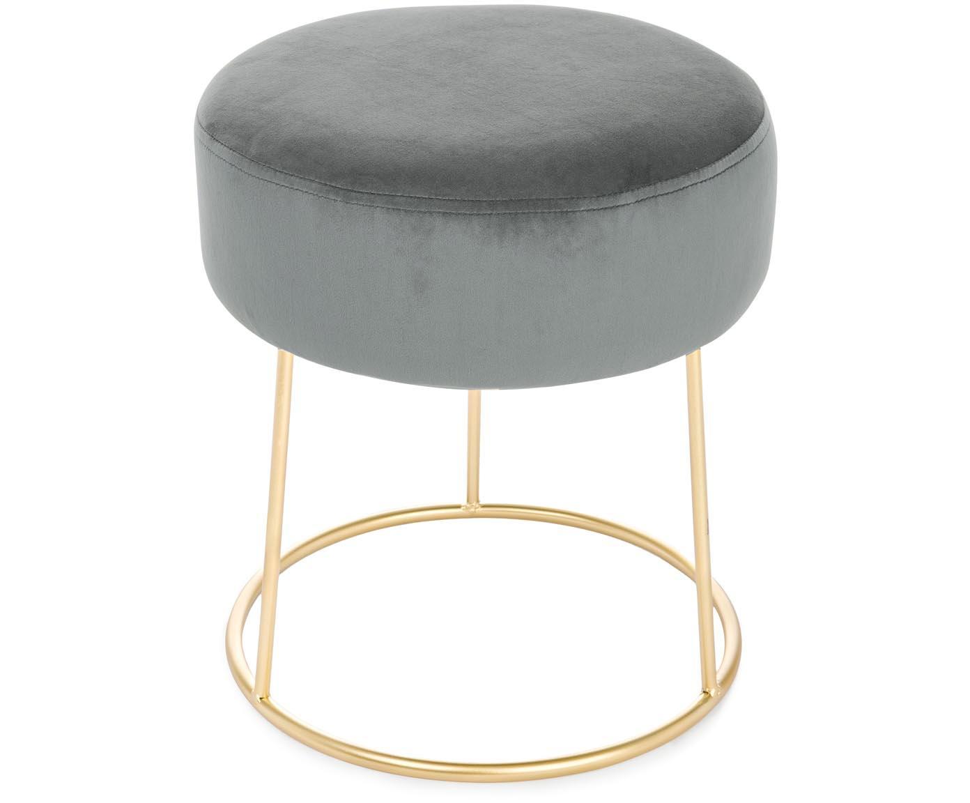 Runder Samt-Hocker Clarissa, Bezug: 100% Polyestersamt, Korpus: Mitteldichte Holzfaserpla, Bezug: GrauFuß: Goldfarben, Ø 35 x H 40 cm