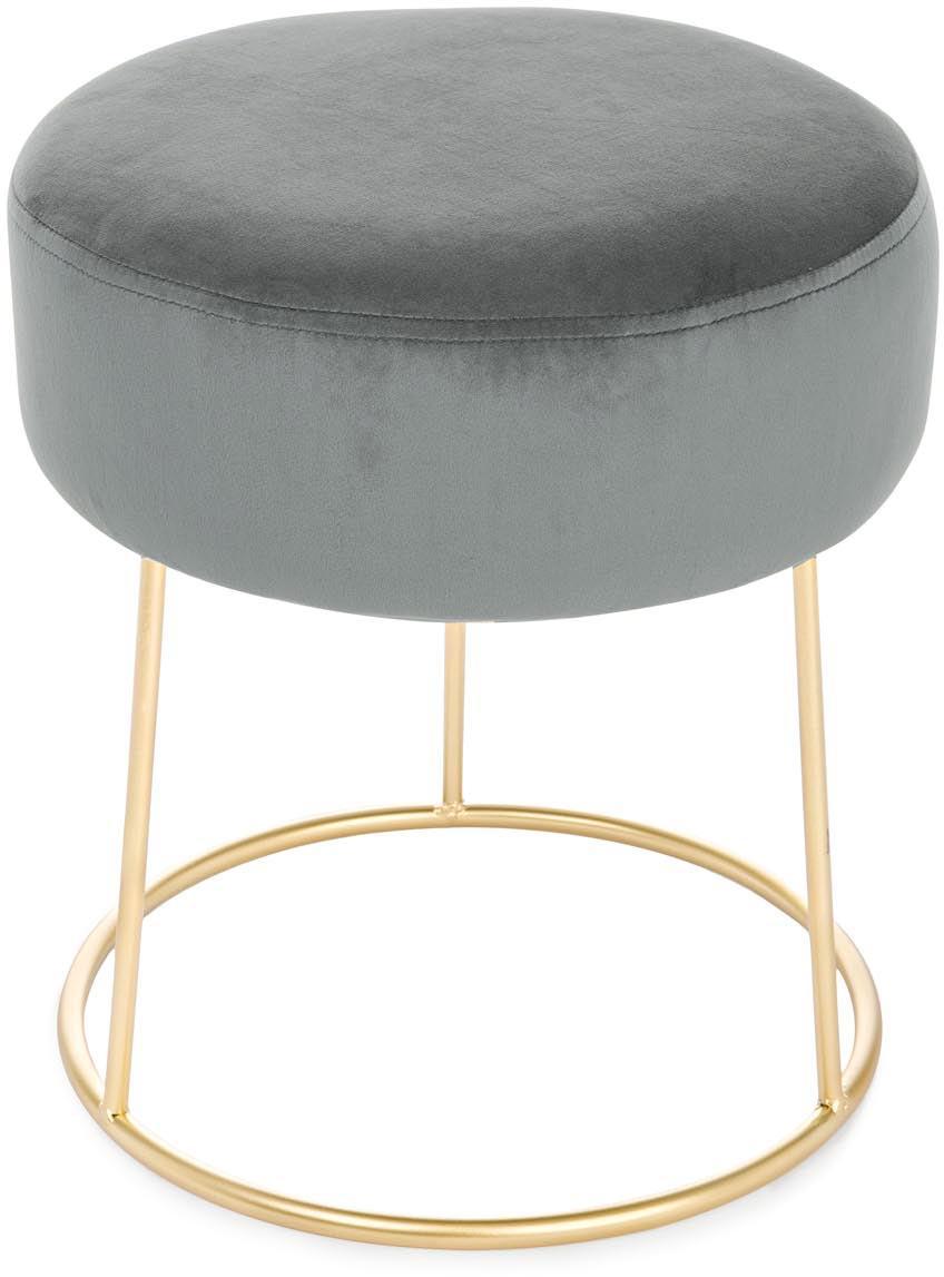 Sgabello rotondo in velluto Clarissa, Rivestimento: 100% velluto di poliester, Piede: acciaio inossidabile vern, Rivestimento: grigio Base: dorato, Ø 35 x Alt. 40 cm