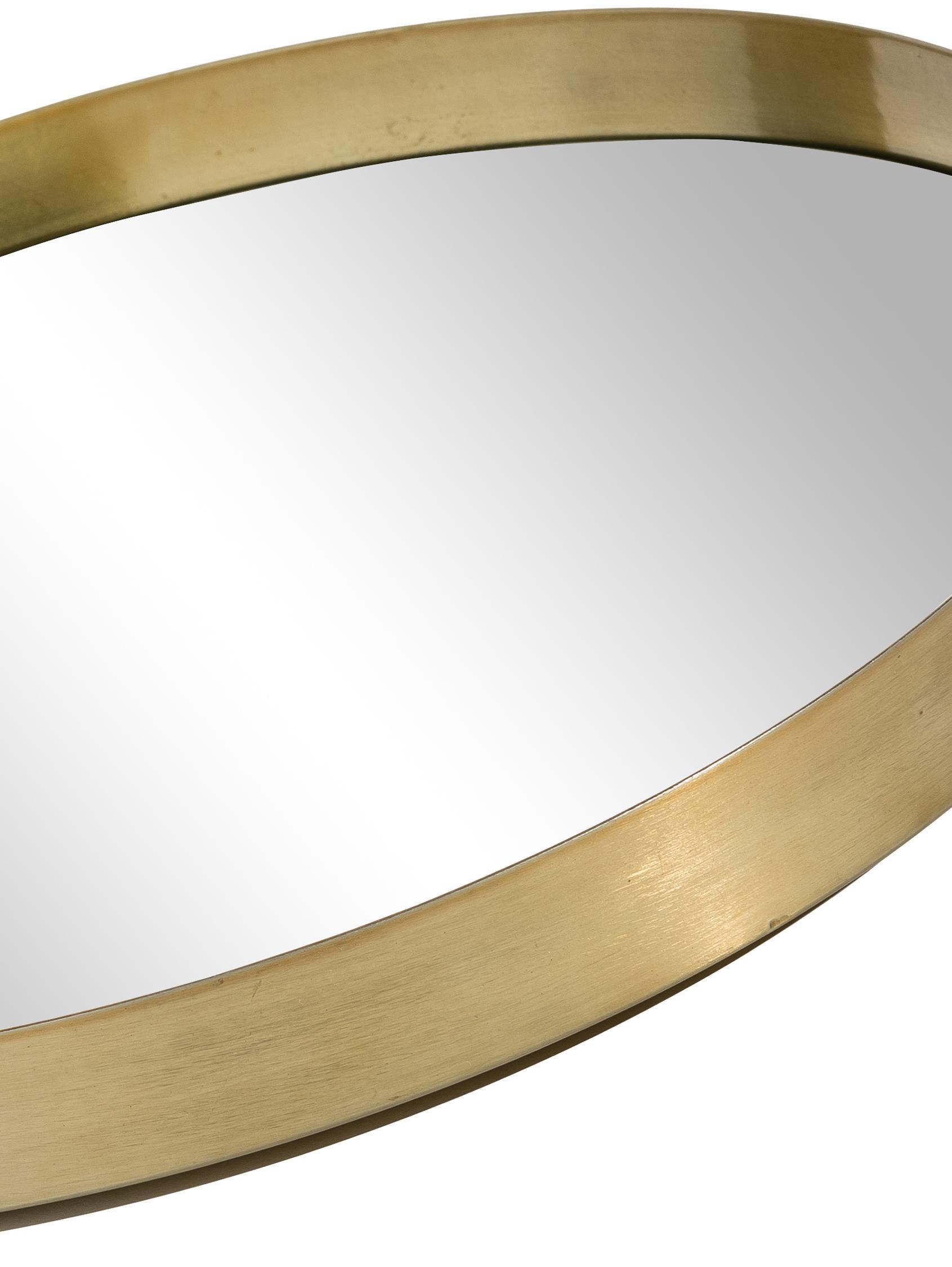Runder Wandspiegel Metal mit Goldrahmen, Rahmen: Metall, lackiert mit gewo, Rahmen: Goldfarben<br>Spiegelglas, Ø 30 cm