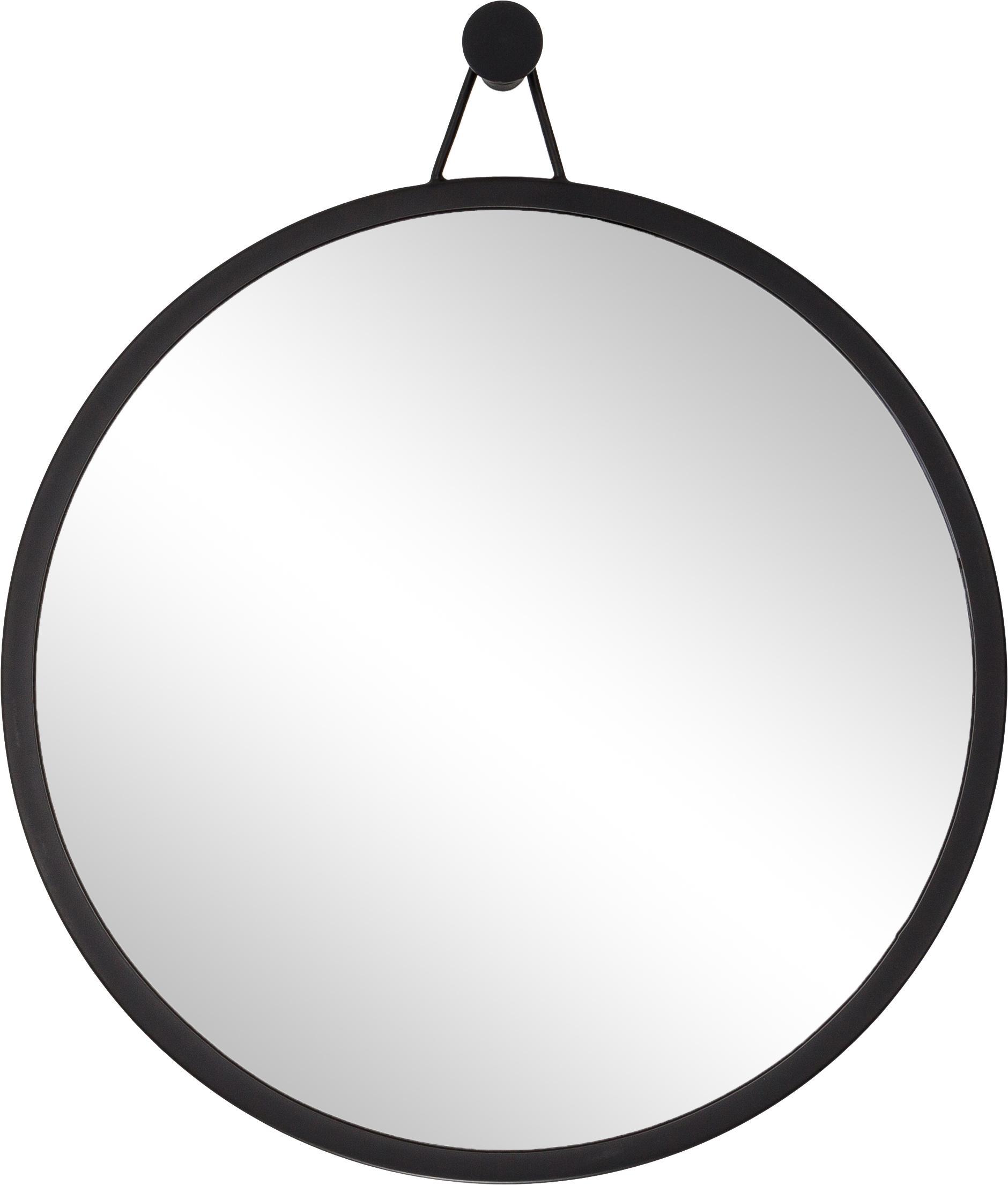 Ronde wandspiegel Lizzy met zwarte lijst, Frame: gepoedercoat ijzer, Zwart, Ø 60 cm