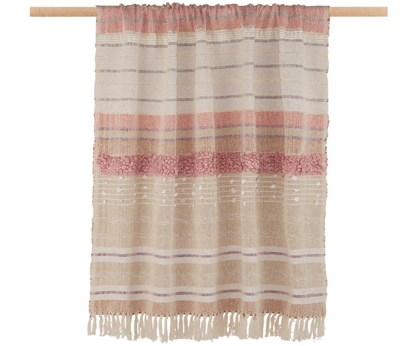 Plaid con fili di lurex Madison, 75% cotone, 25% acrilico, 5%fili di lurex, Beige, rosa, bianco, Larg. 130 x Lung. 170 cm