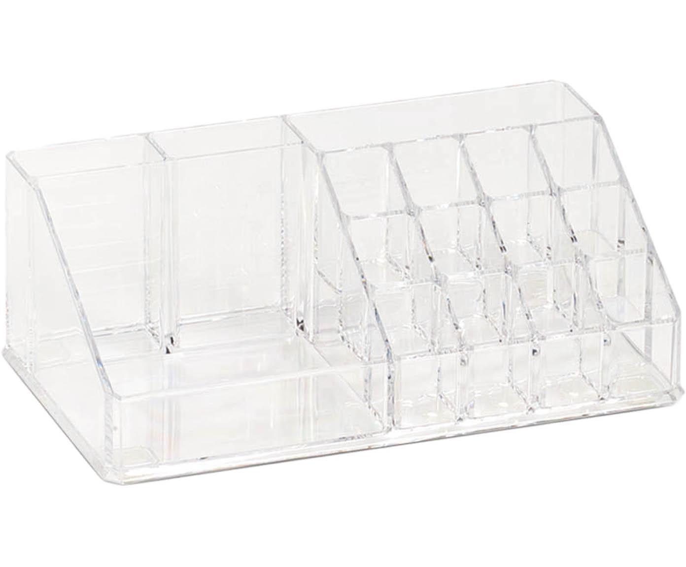 Porta trucchi Clear, Materiale sintetico, Trasparente, Larg. 22 x Alt. 8 cm