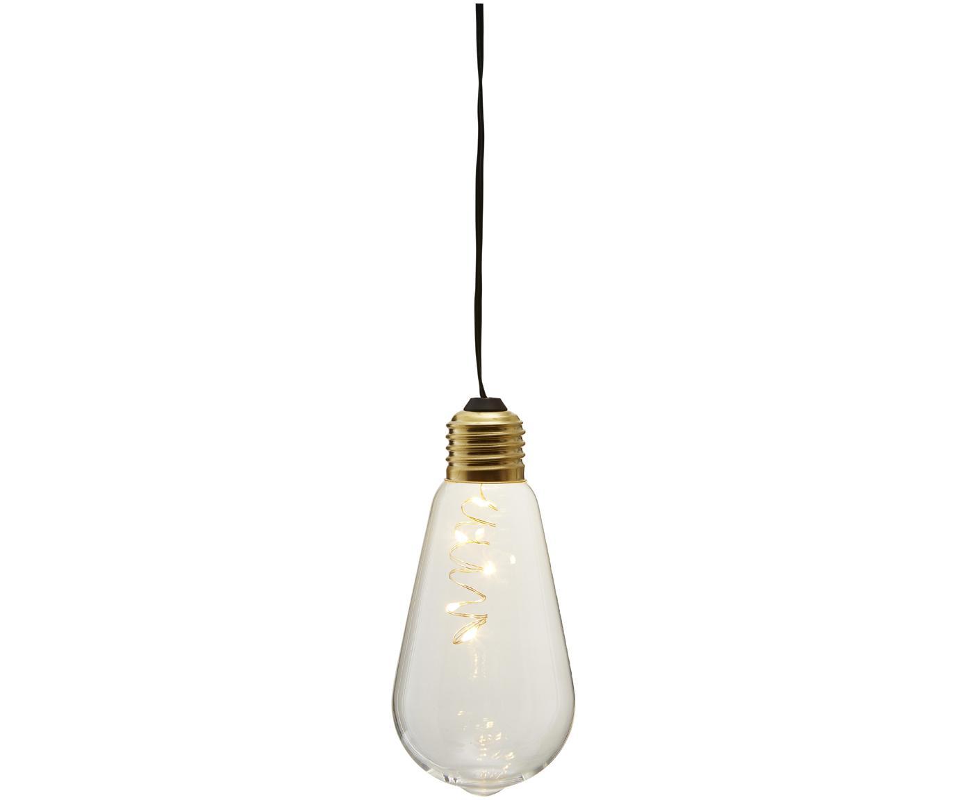 Decoratieve lamp Glow, Lampenkap: glas, Fitting: gecoat metaal, Transparant, Ø 6 x H 13 cm